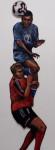 Eins und Zwei, 2010, Acryl, Lack auf Holz, 210x93cm